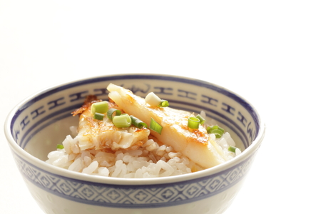 Chinese food, pan fried flat fish and spring onion on white rice