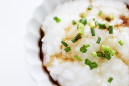 Chinese food, rice porridge and spring onion