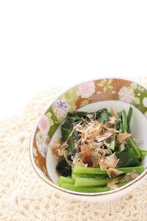 food, spinach and Katsuobushi for side dish image 版權商用圖片
