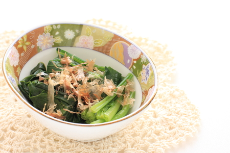 Japanese food, spinach and Katsuobushi for side dish image