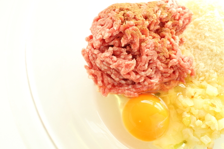 Mince pork and beef with bread crumb for patty cooking image Stock Photo
