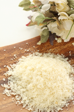 bread crumbs on wooden plate Stock Photo