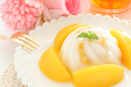 peach and almond tofu for asian dessert image