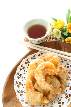 Chinese food, deep fried prawn and mayonnaise sauce Stock Photo