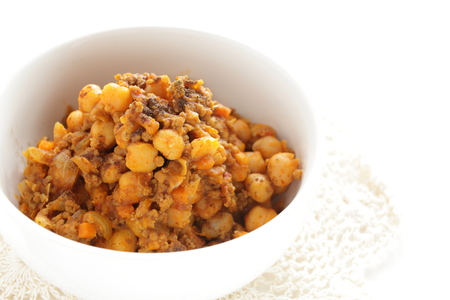 Chicken pea simmered with ground beef