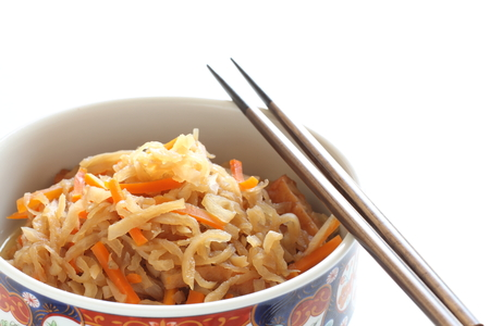 Japanese food, simmered dried radish and carrot with mushroom 스톡 콘텐츠