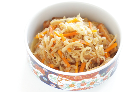 Japanese food, simmered dried radish and carrot with mushroom 写真素材
