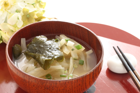 Japanese food, radish and seaweed miso soup