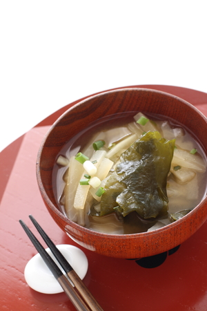 Japanese food, radish and seaweed miso soup