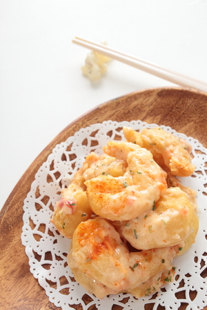 Chinese food, mayonnaise and deep fried prawn