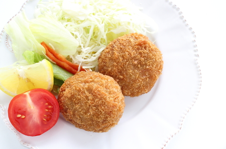 Japanese food, mince beef croquetteJapanese food, mince beef croquette Stock Photo