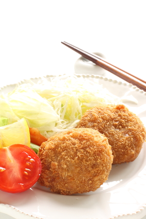 Japanese food, mince beef croquette Stock Photo