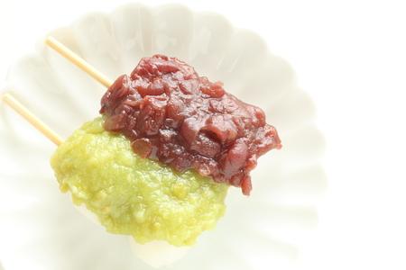Japanese confectionery, bean paste rice cake Dango Stock Photo