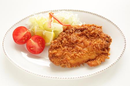 Japanese food, deep fried pork Tonkotsu served with vegetable Stock Photo