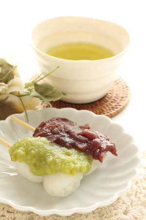 Japanese confectionery, sweet bean paste on rice cake