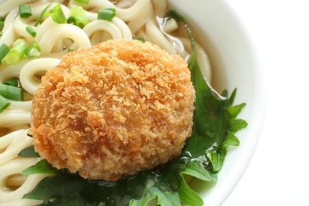 croquette on Udon noodles