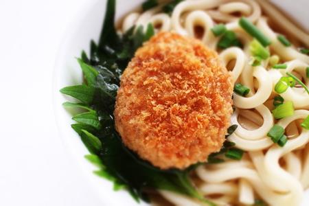 croquette on Udon noodles Stock Photo - 106163099