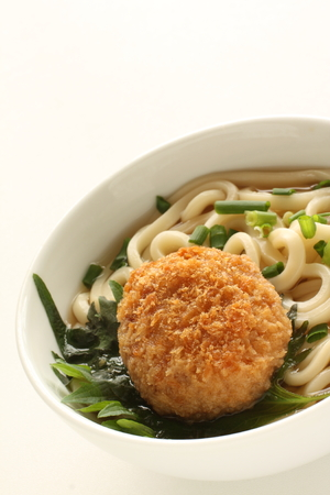 Japanese food, mince croquette on udon noodles