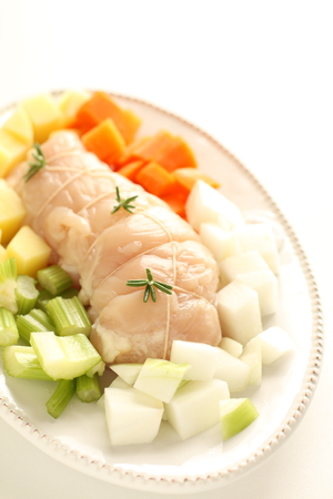 chicken roll and prepared vegetable