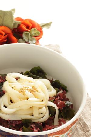 Japanese food, Udon on seaweed and agar agar salad