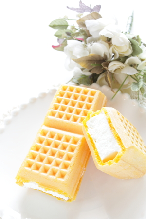 Vanilla ice cream in waffle