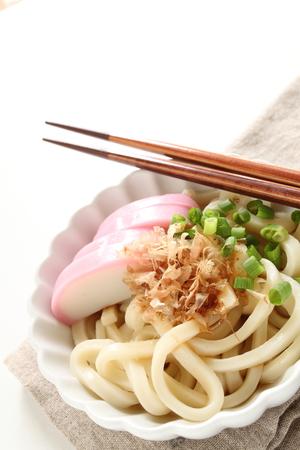 Japanese food, kamaboko and katsuobushi fish flake on Udon