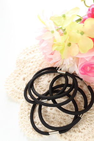 Hair rubber band for beauty image 스톡 콘텐츠