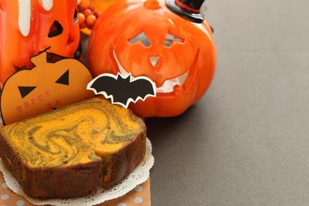 Marble pattern pumpkin cake for halloween image