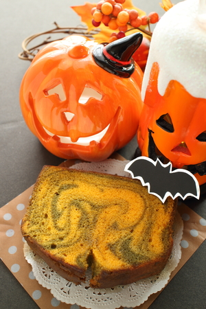 Marble pattern pumpkin cake for halloween image