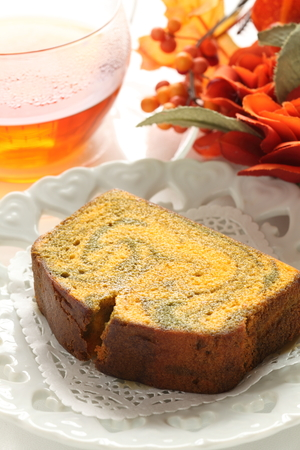 Autumn food, pumpkin cake Stock Photo