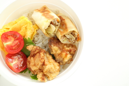Chinese food, dumpling on rice with vegetable Stock Photo
