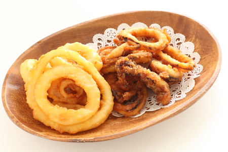 deep fried onion ring and squid ring