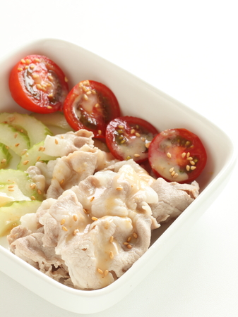 Japanese food, boiled pork and celery salad Stock fotó