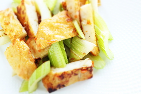 Fish cake and celery stir-fried for Chinese food Stock fotó