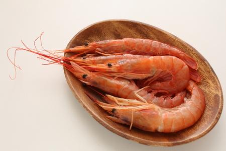 Fresh shrimp on plate