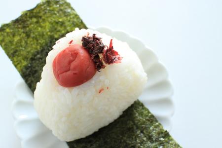 Salted plum rice ball Stock Photo - 109248628
