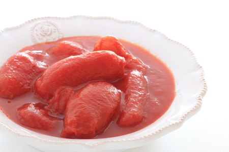 Canned food ingreient, boiled tomato Stock Photo