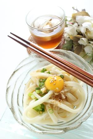 Japanese food, cold udon noodles for summer food image