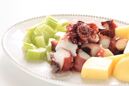Prepared octopus and potato
