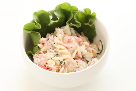 Short pasta and Kanikama crab stick salad Banque d'images