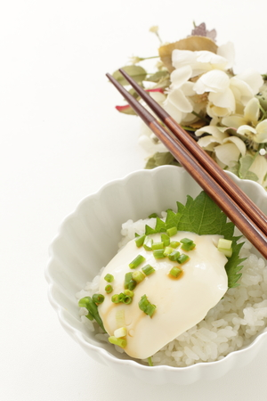 Tofu on rice with shiso herbal and spring onion