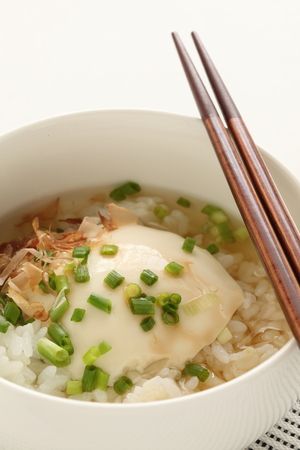 Tofu and spring onion on rice for healthy food image