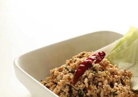Thai food, stir fried spicy mince chicken