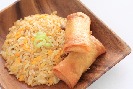 Homemade spring roll and fried rice