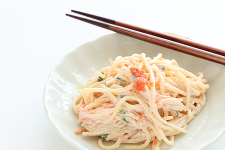 Japanese food, Mentaiko and mayonnaise pasta salad Stock fotó
