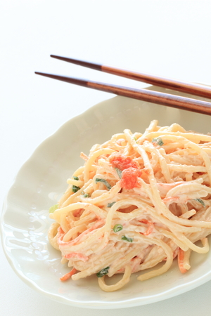 Japanese food, Mentaiko and mayonnaise pasta salad 版權商用圖片