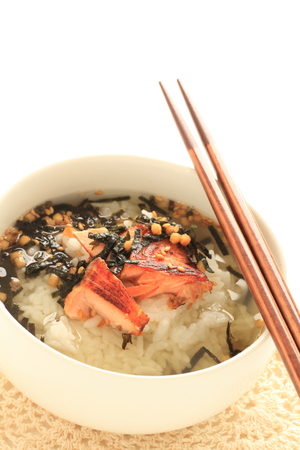 Japanese food, grilled salmon and green tea rice 写真素材