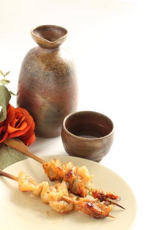 Japanese food, Chicken skin grilled Yakitori and wine