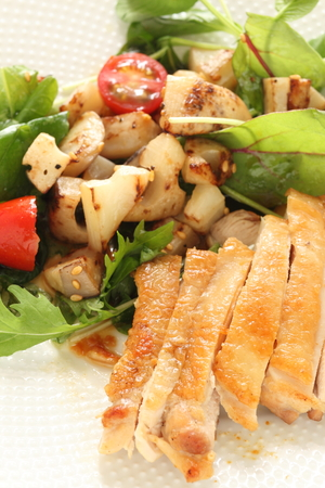 grilled chicken and lotus root salad