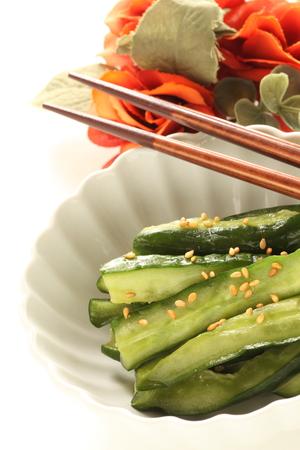 Chinese food, seasoning cucumber and sesame